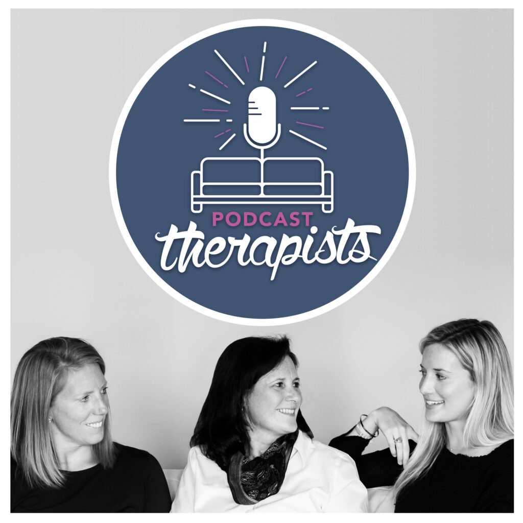 Podcast Therapists image with three therapists and their logo